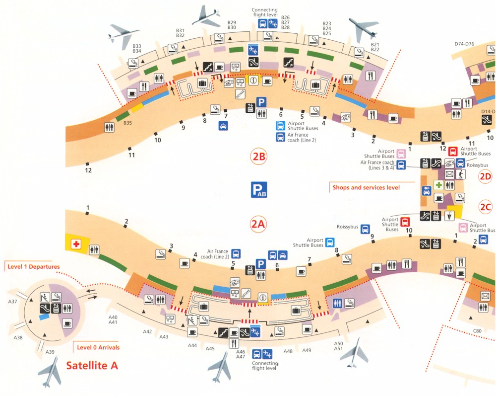 Схема аэропорта Charles de Gaulle.